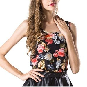 Satiny Floral Top